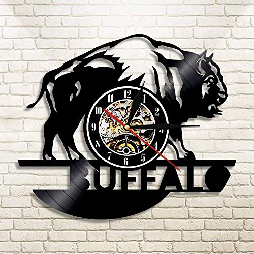 Jiedoud Buffalo Vinyl Schallplatte Wanduhr Tier Modernes Design Home Decoration Wanduhr Kinder Geburtstagsgeschenk   No Led