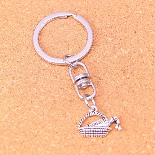 Charmante Nieuwigheid Zilver Kleur Metaal Vintage Wijn Picknick Mand Sleutelhangers Accessoire & Verchroomde Sleutelhangers