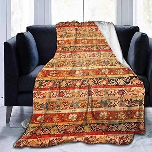 N \ A Superweiche Sofadecke, antiker türkischer Oushak-Teppich, bedruckt, Micro-Fleecedecke, geeignet für Sofadecken für Erwachsene und Kinder, Bettdecken 203,2 cm x 60 cm