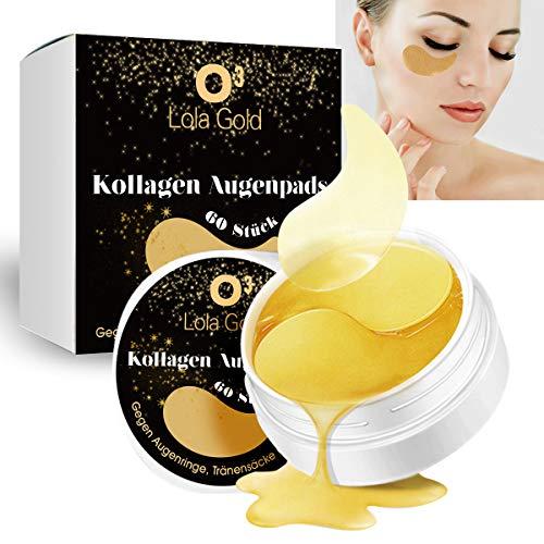 O³ Augenpads gegen Augenringe // 60 Pads // Eye Mask mit 24K Gold Essenz // Tränensäcke und Falten entfernen // Mit Hyaluronsäure & Collagen // Augen Patches - Kollagen Maske
