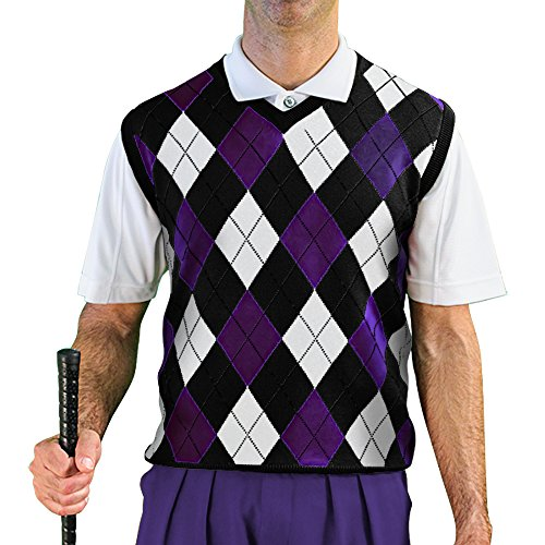 V-Neck Argyle Golf Sweater Vests - GolfKnickers: Mens - Pullover - Black/Purple/White - Large