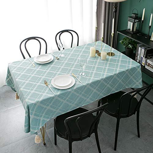 LYZJDP Tischdecke, Dreidimensionale Tischdecke Aus Kariertem Baumwolle Und Leinen Aus Jacquard, Couchtischkissen Quaste Einfache Tischdecke