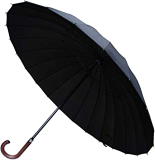 COLLAR AND CUFFS LONDON - 24 Ribs Extra Strong - Windproof 60MPH Umbrella - Solid Wood Hook Handle - Automatic - Black