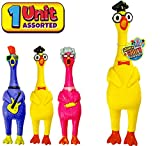 JA-RU Squeeze Me Rubber Chicken Toy (1 Unit) Large Squeeze Chicken, Prank Novelty. Screaming Rubber Chickens for Kids. Squawking Loud Sound Noise Making, Party Favor Prank Dog Toy. 1704-1p