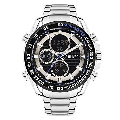 s.Oliver Herren Analog-Digital Quarz Uhr mit Edelstahl Armband SO-4246-MD