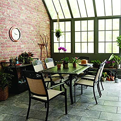 Hanover LISBON7PC-TAN 6 Sling Stationary Chairs and 39 in. x 68 in. Cast-Top Table in Tan Lisbon 7-Piece Outdoor Dining Set