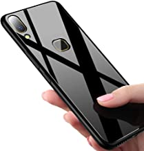 ERIT Vivo Y83 Pro Back Case Cover Luxurious Toughened Glass Back Case with Shockproof TPU Bumper Vivo Y83 Pro (Black Glass)