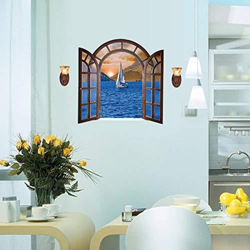 3D Sea Window Scenery Adesivo Murale Grande Home Decor Soggiorno Adesivo Decorazioni Nautiche Stencil Per Pareti2