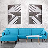 Futon Sleeper Sofa Bed-Couch Convertible Futon Sofa Sectional with Chaise, (Sofa to Bed Feature) Modern L-Shaped Lounger Sectional Sofa & Fully Reclining Chaise, Sky Blue