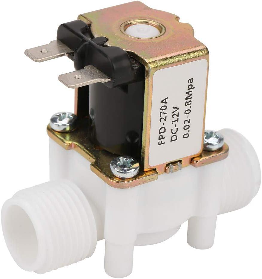 MAGT Válvula solenoide de Agua, DC 12V DN15 G1/2 Válvula electromagnética de plástico Interruptor de Entrada de Agua Normalmente Cerrado Válvula solenoide eléctrica