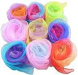 Liuer 20PCS Pañuelos de Baile,Malabares Multicolor Mágicos de Seda y Pañuelo para Malabares...