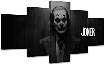 TYG Canvas Wall Art, Wall Painting Joker 2019 Movie Black White Pop Prints on Canvas Giclee Artwork Modern Decor Picture for Living Room/Bedroom Poster Stretched and Framed Ready to Hang 5PCS