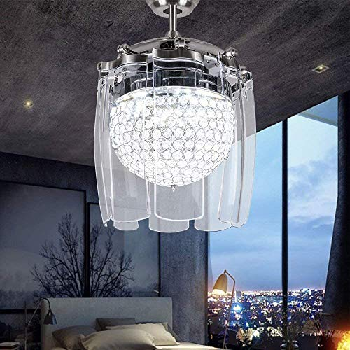 Ceiling Fans with Led Lights Crystal Chandelier Fandelier Fashion 48 Inch Blades Transparent Folding Chrome Invisible Ceiling Fan Lamp Fixture for Bedroom Living room Kitchen