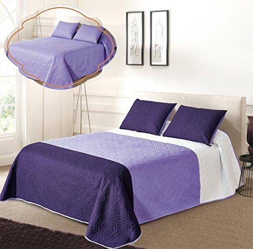 All American Collection Wende-Tagesdecken-Set in drei Farben, 2-teilig, Weiß / Violett / Dunkelviolett