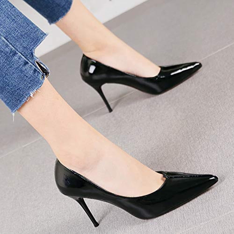 HRCxue Pumps Mode Spitze Stiletto Heels Damen Temperament einfache Nude Farbe Lackleder Schuhe, 36, schwarz