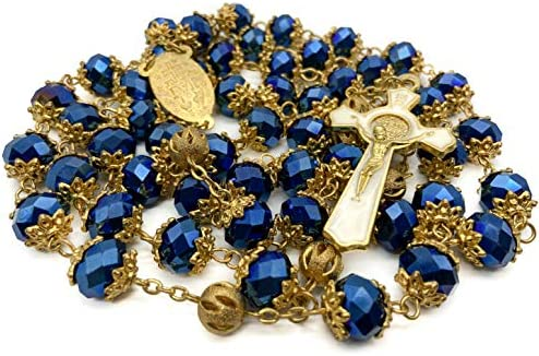 Nazareth Store Deep Blue Crystal Beads Rosary St Benedict Beaded Necklace Gold Plated 10mm Catholic product image