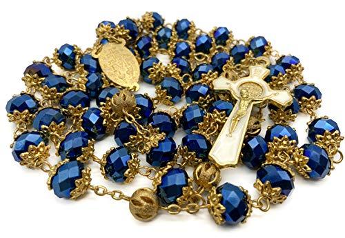 Nazareth Store Rosario de San Benito chapado en oro Collar católico Azul profundo 10 mm Cristales Cuentas Medalla Santa Milagrosa + Bolso de terciopelo