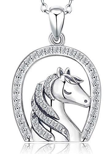 Plata de Ley 925 Collares de herradura, Collar con Colgante de Caballo para Niñas, Regalo de Joyería para Mujer Mamá, Hija