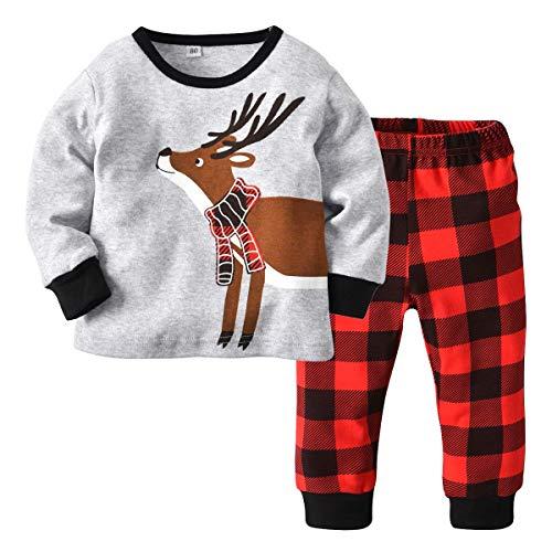 Kids Pajamas Set Cotton,MOLYHUA Girls Boys PJS Set Long Sleeve Shirt with Pants Set(Grey,100(3T))
