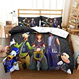 Haonsy Cartoon Action Role-Playing Game Theme Boys Girls Bedding Sets King 3 Piece Kingdom Hearts Duvet Cover Set 1 Comforter Cover 2 Pillowcases