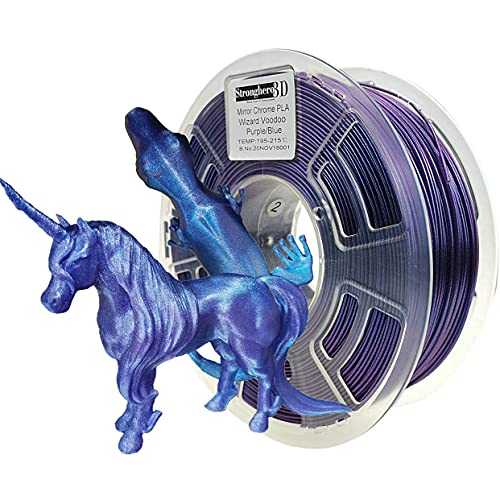 Stronghero3D PLA 3D Printer Filament 1.75 mm Mirror Chrome Purple/Blue Dizziness Net Weight 1 kg Accuracy +/- 0.05 mm for ender3 Cr10