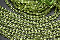 13 Inch Strand,Finist Quality,Natural Peridot Faceted Coins Shaped Beads. Size 4mm