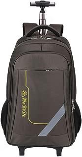 GLJJQMY Travel Bag Backpack Shoulder Bag Waterproof Wheel Backpack Business Travel Package Student Bag Trolley Backpack (Color : Brown, Size : 54x22x32cm)