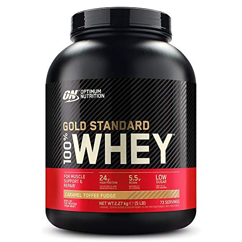 Optimum Nutrition Gold Standard Whey Muscle Building and Recovery Protein Powder With Naturally Occurring Glutamine and Amino Acids, Caramel Toffee Fudge, 73 Servings, 2.27 Kg, Packaging May Vary
