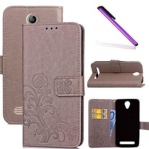 COTDINFOR Acer Liquid Z6 Hülle für Mädchen Elegant Retro Premium PU Lederhülle Handy Tasche im Bookstyle mit Magnet Standfunktion Schutz Etui für Acer Liquid Z6 Clover Gray SD.