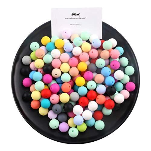 15mm Perles en Silicone Round Loose Organic Nursing Bijoux Bébé Balles de Dentition (50pcs) Food Grade Sensitive Infant Teether Bricolage Collier