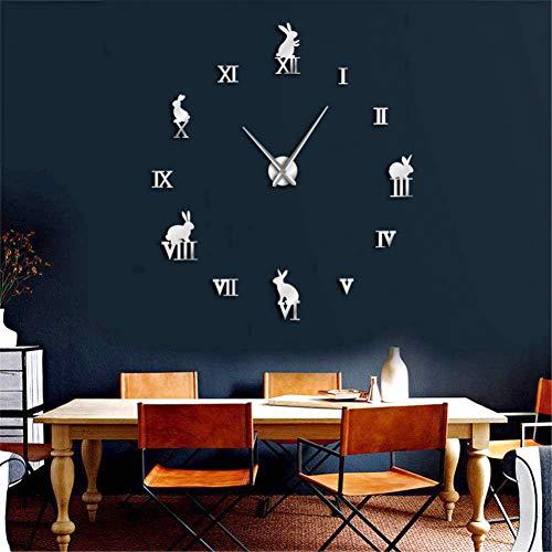 DIY Wall Clock Frameless Large Wall Decoration Wall Art Decor Clock Sticker Watches Rabbit with Roman Numberals DIY Large Big 3D Wall Clock Luxury Wall Clocks New Year 【Silver】