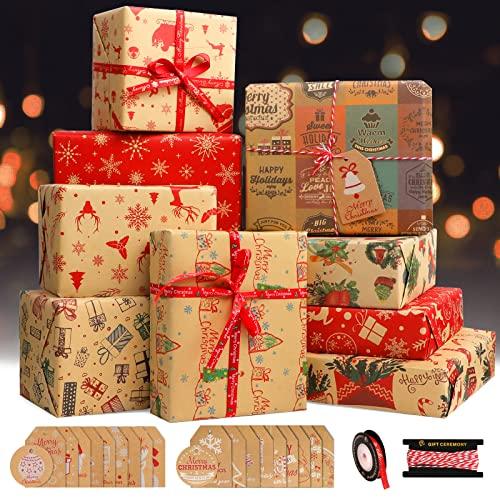 Papel Regalo Navidad, Papel Kraft Infantil Papel Envolver Regalos Navidad Rojo con Etiquetas Regalo y Cintas, Marron Papel Embalar Reciclado Grandes Kit Original Reno Copo de Nieve(12 Piezas)