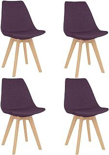 vidaXL 4X Sillas de Comedor Asiento Mobiliario Muebles Cocina Salón Sala de Estar Escritorio Acolchado Suave Respaldo Decoración Tela Moradas