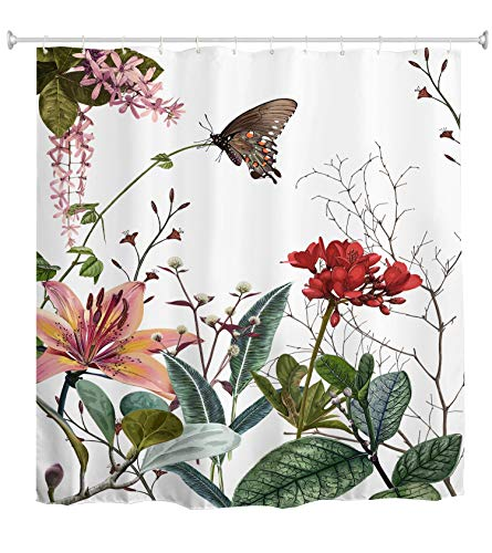 Ao blare Duschvorhang mit Blättern, tropische grüne Pflanzen, Schmetterling, rote Blumen, Lilien, Zweig, Polyester-Stoff, Badezimmer-Duschvorhang-Set mit Haken, 183 x 183 cm