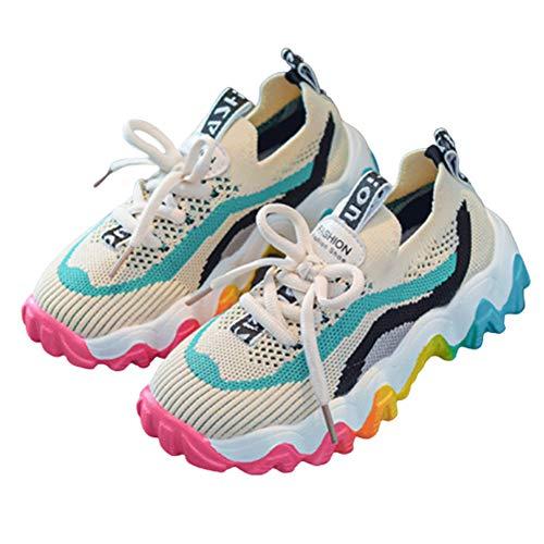 Daclay Zapatos para niños niños y niñas arcoíris niños Transpirables Zapatos Deportivos Tejidos voladores Zapatos para Correr Zapatos para Estudiantes(25 EU,Blue)