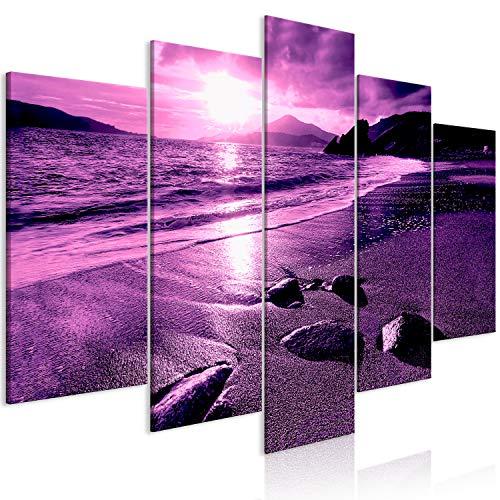 murando Cuadro Playa Mar 200x100 cm Impresión de 5 Piezas Material Tejido no Tejido Impresión Artística Imagen Gráfica Decoracion de Pared Paisaje Violeta c-B-0492-b-n