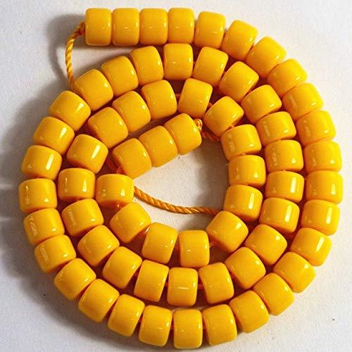 NOLOGO Gxbld-yy Schmucksache Entdeckungen 7 Farben Harz Bienenwachs 5x8mm 7x10mm Rohr Barrel Reis Form Loser Spacern Beads for Frauen Zubehör 15inch (Farbe : Gelb, Größe : 7x10mm)