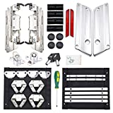 Amazicha Saddlebag Latch Hardware Kit,Aluminum Chrome Latch Cover Locks Red Reflectors Rubber Cushion Compatible for Harley Touring Street Glide Electra Glide Road Glide Road King 1993-2013