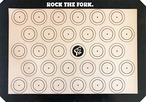 Rock the Fork Macaron Mat (Premium) Macaron Silicone Baking Mat. NonStick Silicone Macaron Sheet. Designed for Style & Function by Chefs for Chefs. 11 5/8 x 16 1/2 Inch