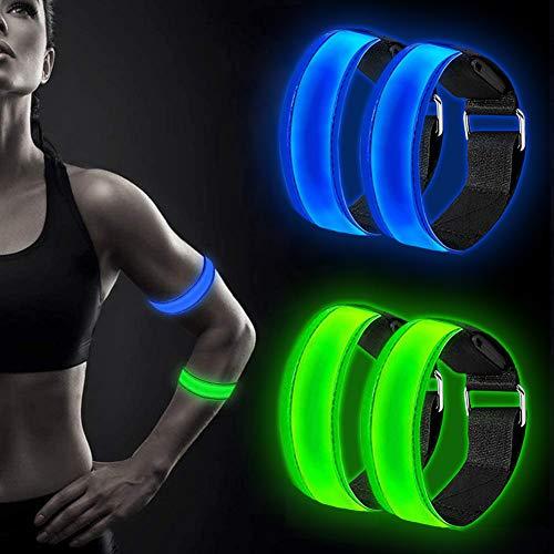 Alintor LED Armband, 4 Pack Sport Armbands, Running Lights for Runners,...