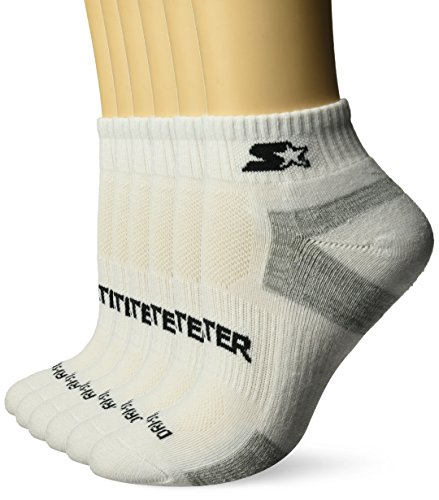 Starter Women's 6-Pack Quarter-Length Athletic Socks, Amazon Exclusive, White, Medium (Shoe Size 5-9.5)