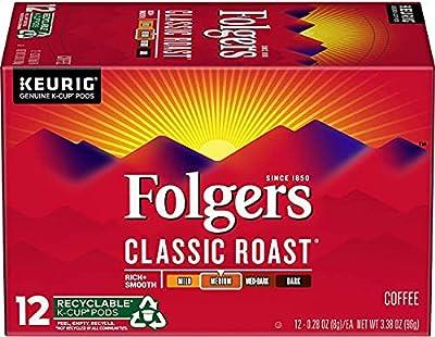 Folgers Classic Roast Medium Roast Coffee, 72 Keurig K-Cup Pods 72 Count (Original Pack)