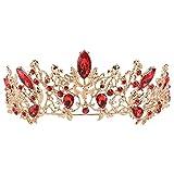 Tiara de novia de rubí vintage de hoja princesa corona dorada para fiesta de graduación