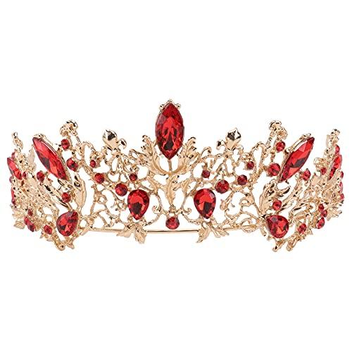 Tiara de novia de rubí vintage de hoja princesa corona dorada para...