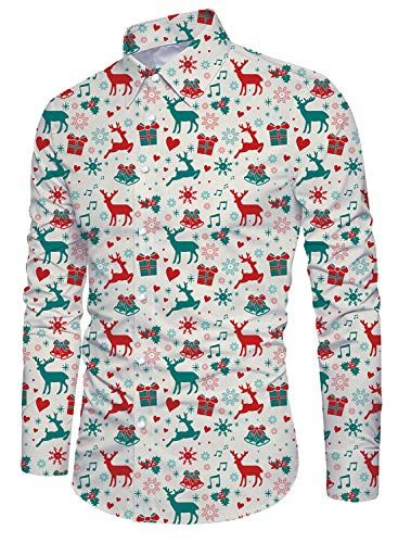 uideazone Men's Business Shirts Christmas Reindeer Printed Long Sleeve Dress Shirts for Xmas Party