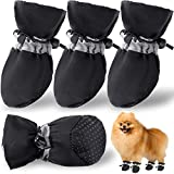HOOLAVA Dog Shoes Anti-Slip Dog Boots, Dog Booties with Reflective Straps for Small Medium Dogs, Paw Protectors for Hot Pavement|Summer|Winter|Snow 4PCs(Size 3: 1.37')