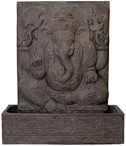 korb.outlet Ganesha Brunnen Wasserlauf Steinguss Elefant Gartendeko Indisch Tempel-Brunnen für Garten frostfest Outdoor