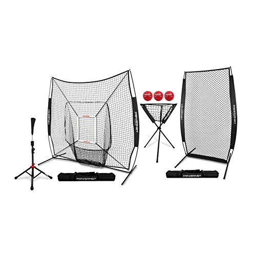 PowerNet [All in ONE Coach Bundle (Black) 7x7 DLX Practice Net + I-Screen + Deluxe Tee + Ball Caddy + 3 Pack Weighted Training Ball + Strike Zone Bundle | Baseball Softball Pitching Batting