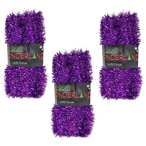 Widdle Wonderland Weihnachtsbaum-Lametta, 3 Packungen à 15 m x 3 cm, Violett