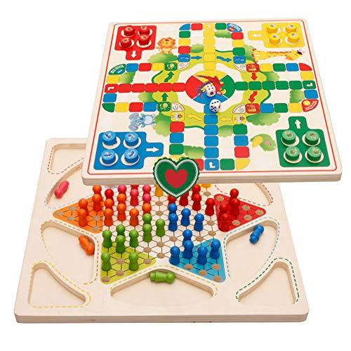 Gcroet Holz 2 In 1 Familie Brettspiel Halma Wooden Chinese Checkers 2 Spieler Brettspiele FüR Kinder Und Erwachsene